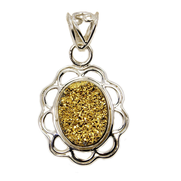 Sparkling Golden Druzy & .925 Sterling Silver Pendant - The Silver Plaza