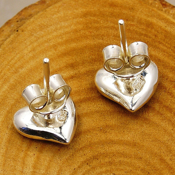 Cute Hearts Sterling Silver Baltic Amber Stud Earrings - The Silver Plaza