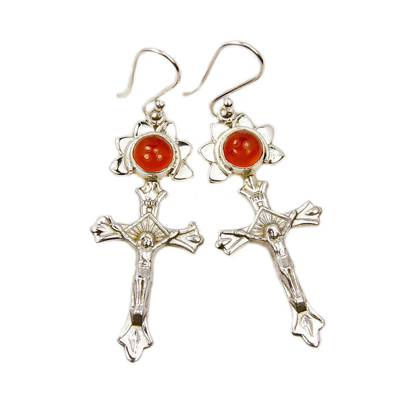 'Love and Faith' Carnelian Cross & Sterling Silver Earrings - The Silver Plaza