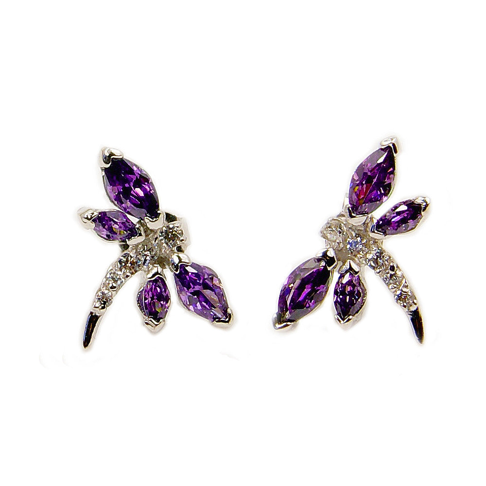 Sterling Silver Purple CZ Dragonfly Stud Earrings - The Silver Plaza