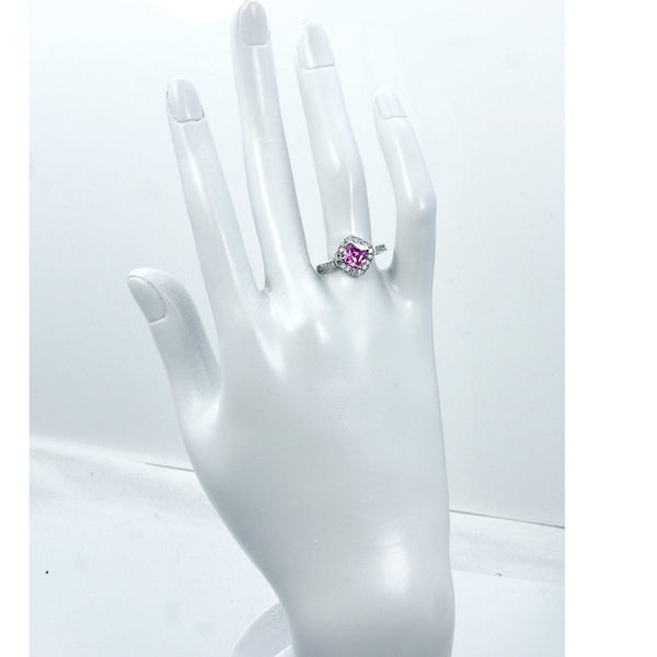 'Royal Princess' Sterling Silver Pink Cubic Zirconia Ring, Size 6.75 - Emavera - 1
