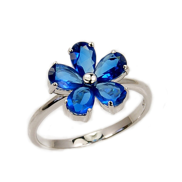 """Blossom"" Blue Cubic Zirconia Flower & Sterling Silver Ring - The Silver Plaza"