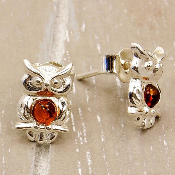 Wise Owl Sterling Silver Baltic Amber Stud Earrings - Emavera - 1