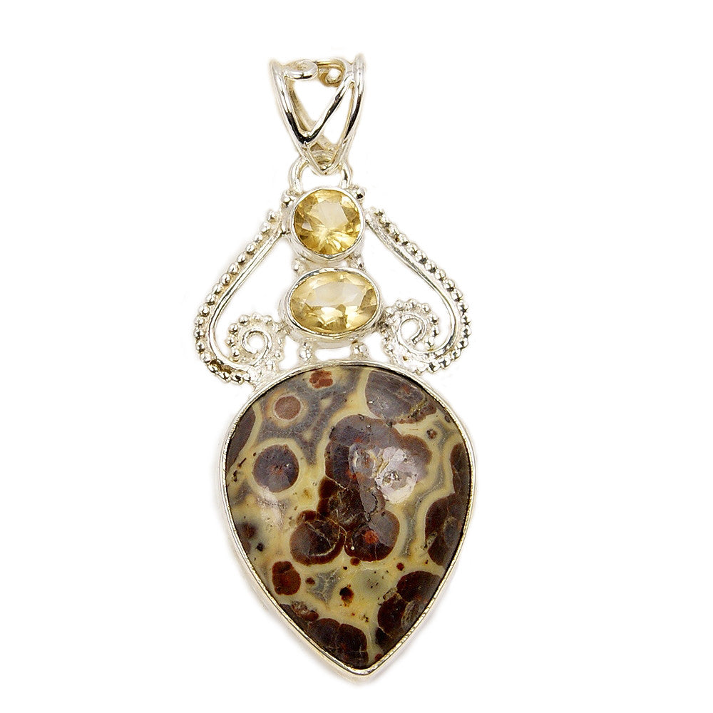 Mushroom Rhyolite, Citrine & .925 Sterling Silver Pendant - The Silver Plaza