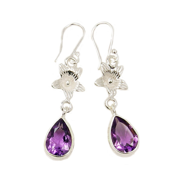 'Purple Blossom' Amethyst  & .925 Sterling Silver Dangle Earrings - The Silver Plaza