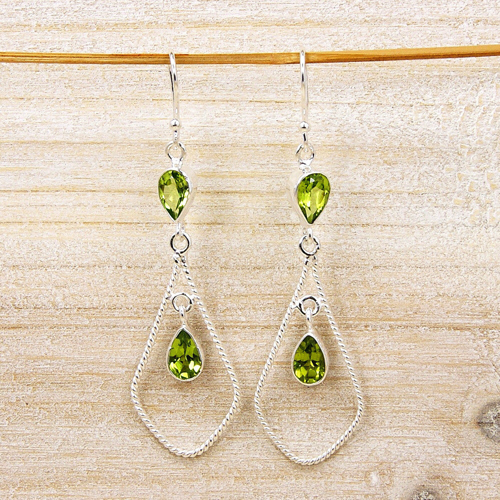 'Spark of Life' Huge Peridot & .925 Sterling Silver Dangle Earrings - The Silver Plaza