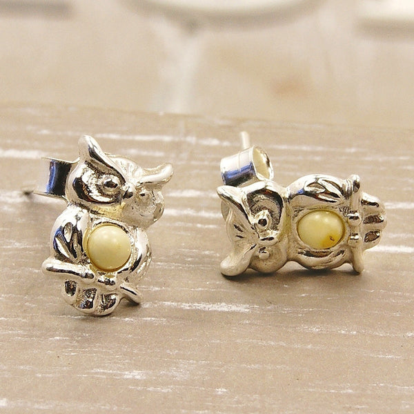 Wise Owl Sterling Silver Butterscotch Baltic Amber Stud Earrings - Emavera - 1