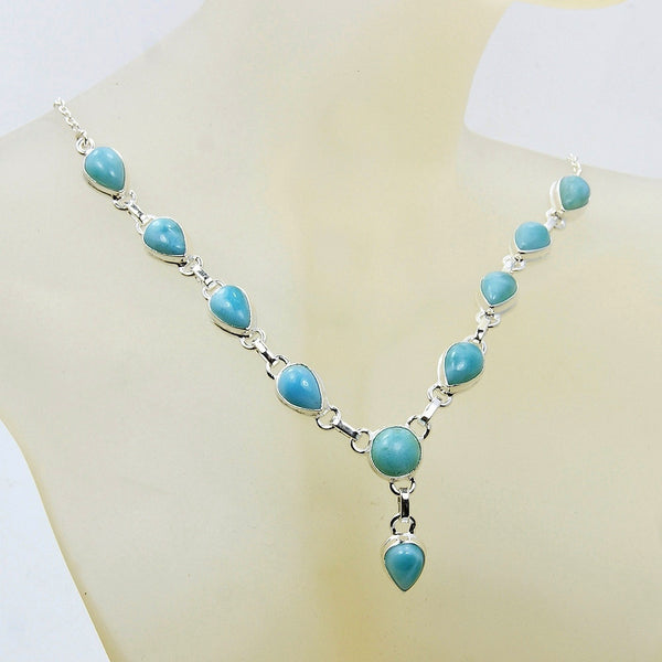 'Blue Fantasy' Sterling Silver Genuine Dominican Larimar Y-necklace - Emavera - 1