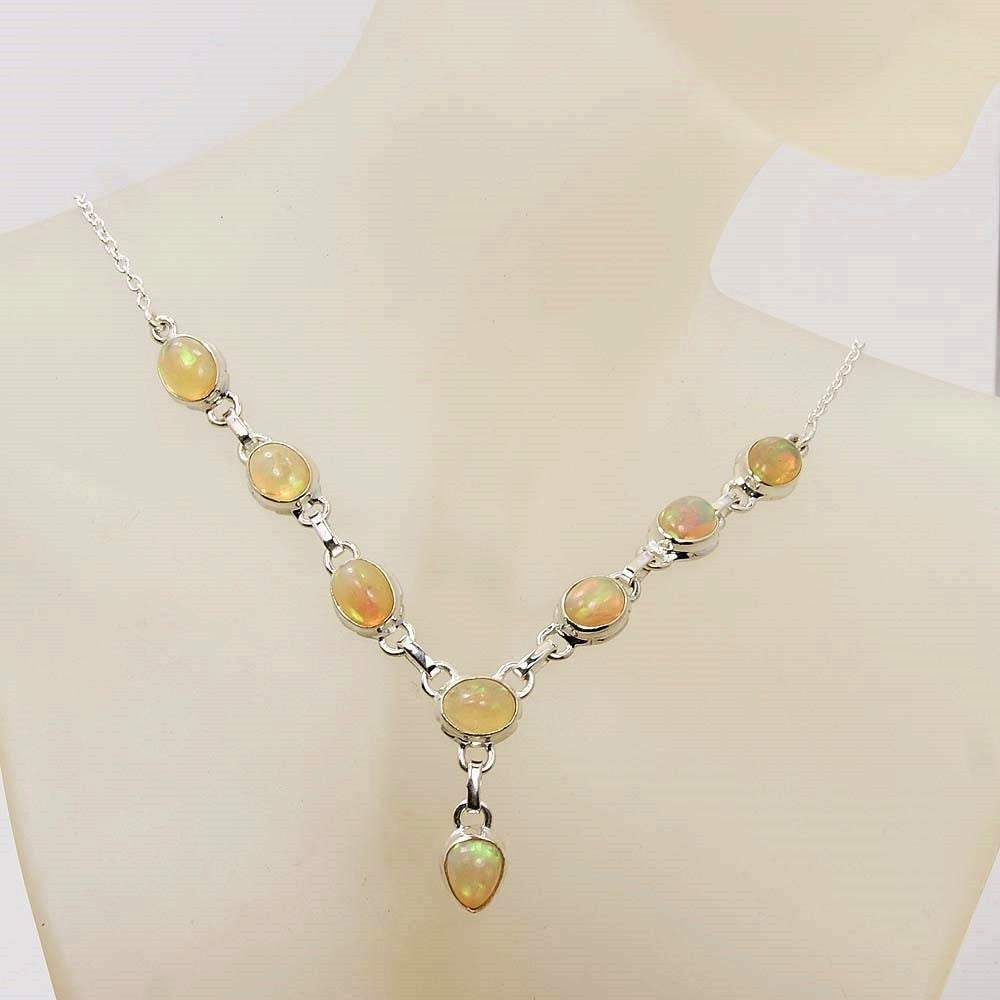 Fire Ethiopian Opal & .925 Sterling Silver Y-shaped Necklace - The Silver Plaza