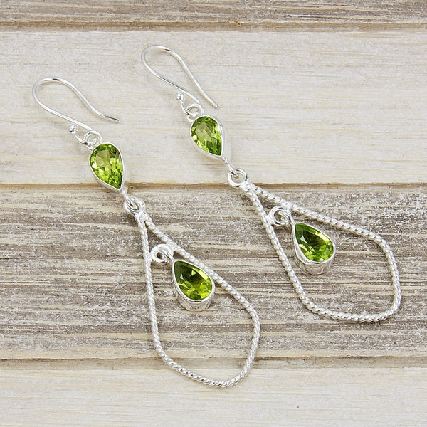 'Spark of Life' Huge Peridot & .925 Sterling Silver Dangle Earrings