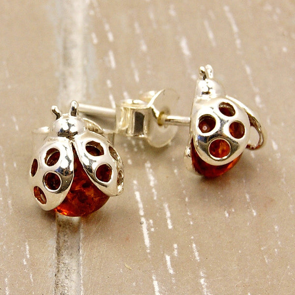 Cute Ladybugs Sterling Silver Baltic Amber Stud Earrings - The Silver Plaza