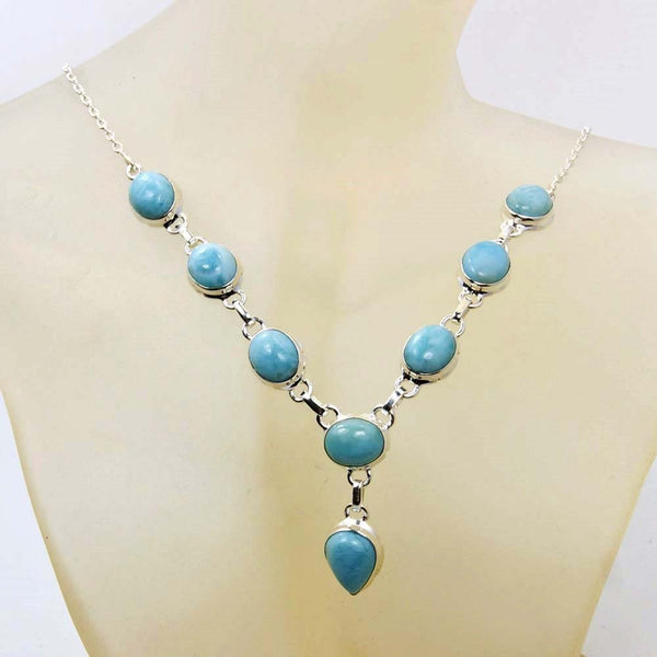 Sterling Silver Genuine Dominican Larimar Y-necklace - The Silver Plaza