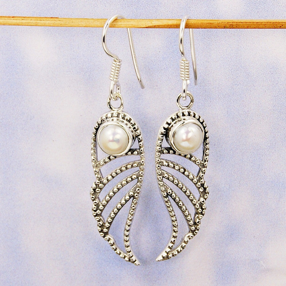 'Angelic Wings' Sterling Silver Pearl Dangle Earrings - The Silver Plaza