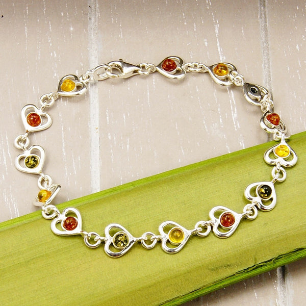 Sweet Romance Sterling Silver Natural Baltic Amber Heart Bracelet - The Silver Plaza