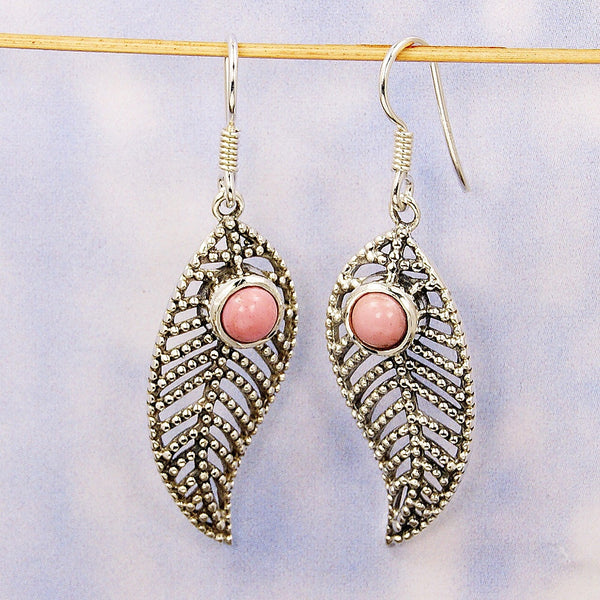 'Passionate Leaf' Sterling Silver Pink Opal Dangle Earrings