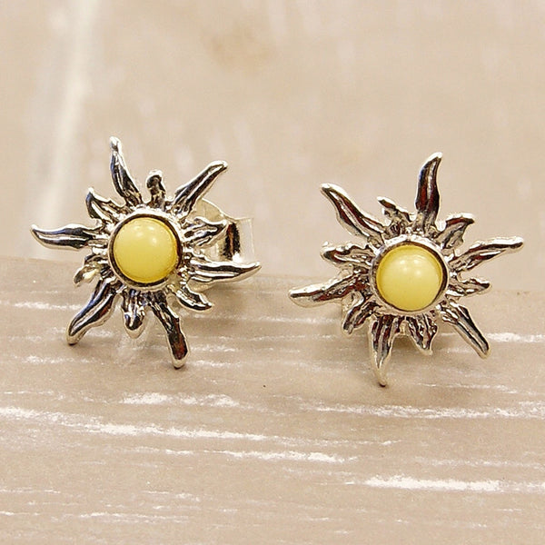 Blazing Sun Sterling Silver Butterscotch Baltic Amber Stud Earrings - The Silver Plaza