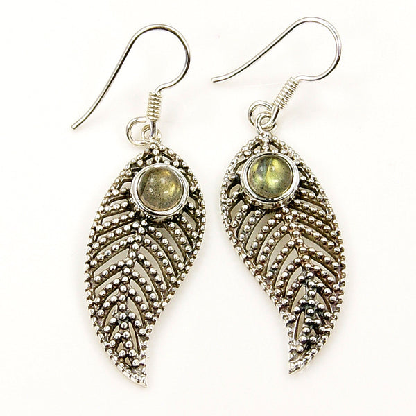 'Passionate Leaf' Sterling Silver Labrdorite Dangle Earrings - The Silver Plaza