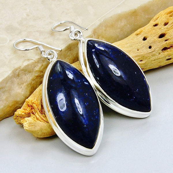Rare Large Sodalite & Sterling Silver Dangle Earrings - The Silver Plaza