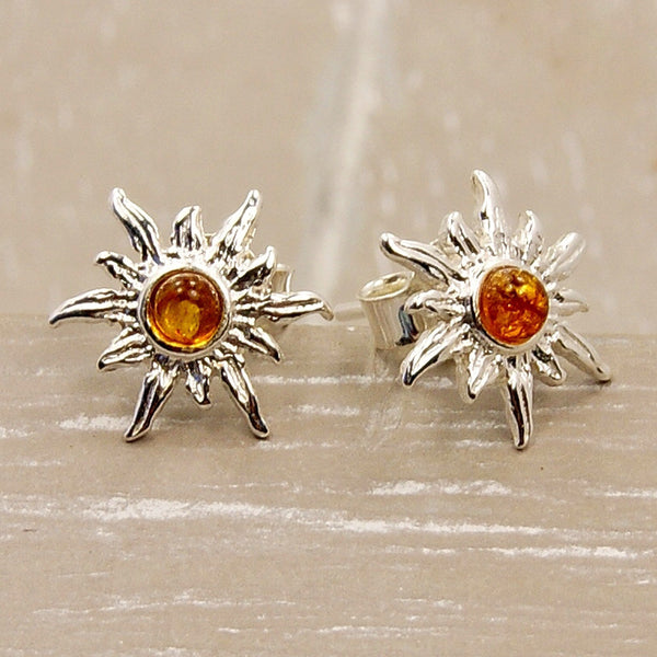 Blazing Sun Sterling Silver Baltic Amber Stud Earrings - The Silver Plaza