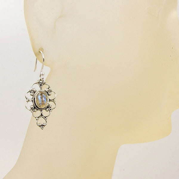 'Mystic Princess' Sterling Silver Labradorite Dangle Earrings