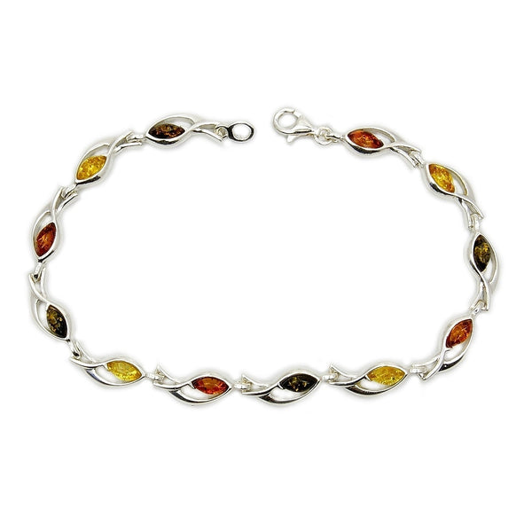 Sterling Silver Natural Baltic Amber Bracelet - The Silver Plaza