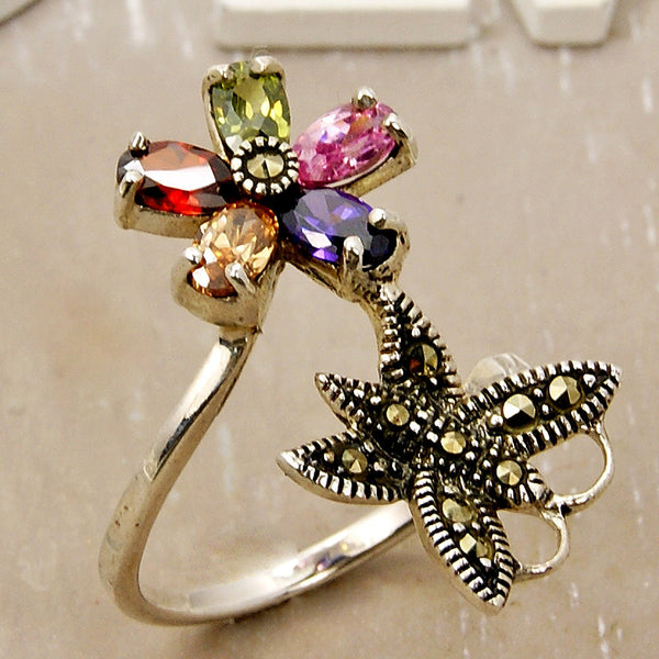 """Exotic"" Multigem CZ Flower, Butterfly & Sterling Silver Ring Size 6 - The Silver Plaza"