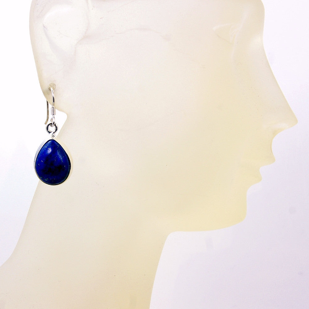 Deepest Blue' Sterling Silver Lapis Lazuli Dangle Earrings - The Silver Plaza