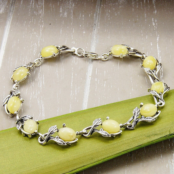 Elegant Leaves Butterscotch Baltic Amber & Sterling Silver Bracelet - Emavera - 1