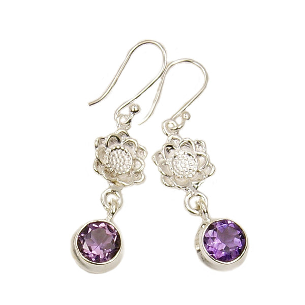 'Purple Lily' Amethyst  & .925 Sterling Silver Dangle Earrings - The Silver Plaza