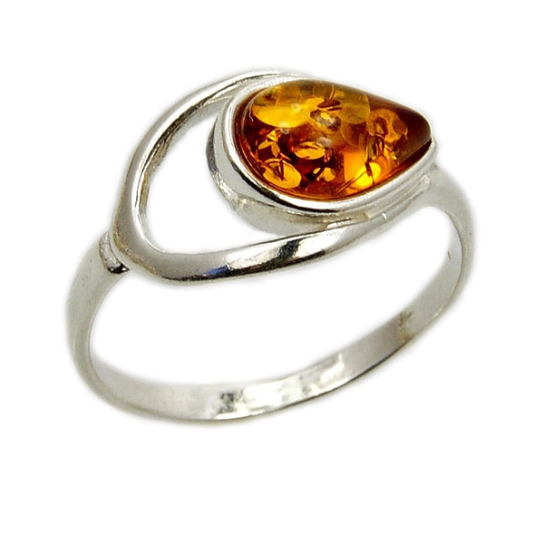 Eye of The Soul Sterling Silver Natural Honey Baltic Amber Ring - The Silver Plaza