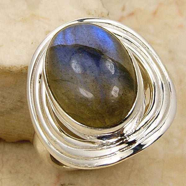 'Blue Shadows' Labradorite & .925 Sterling Silver Ring Size 5.5