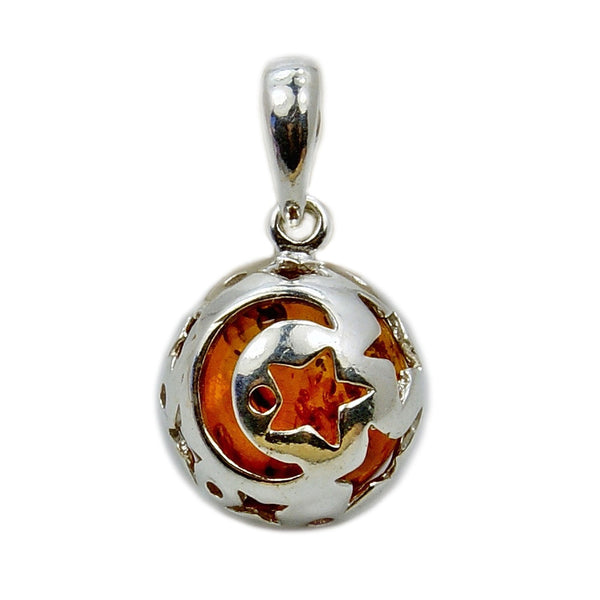'Moon and Stars' Sterling Silver Baltic Amber Pendant - The Silver Plaza
