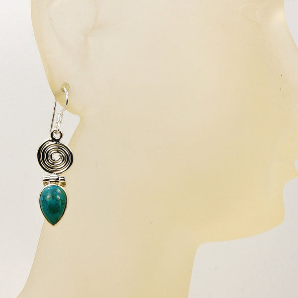 'Mermaid's Treasure' Swirl Chrysocolla & .925 Sterling Silver Dangle Earrings