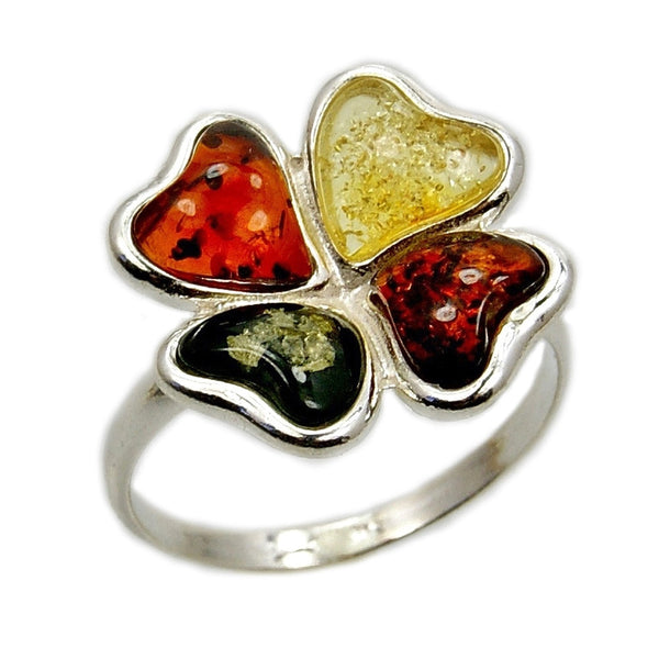 'Good Luck' Four Leaf Clover Sterling Silver Natural Multicolor Baltic Amber Ring - The Silver Plaza
