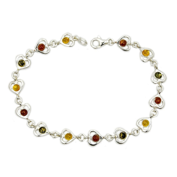 Sweet Romance Sterling Silver Natural Baltic Amber Heart Bracelet