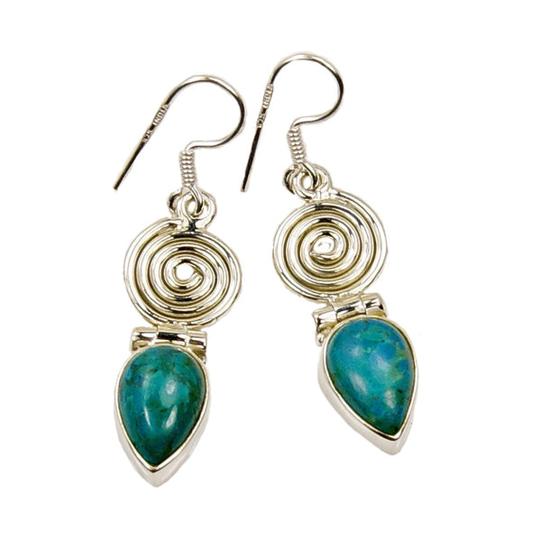 'Mermaid's Treasure' Swirl Chrysocolla & .925 Sterling Silver Dangle Earrings - The Silver Plaza