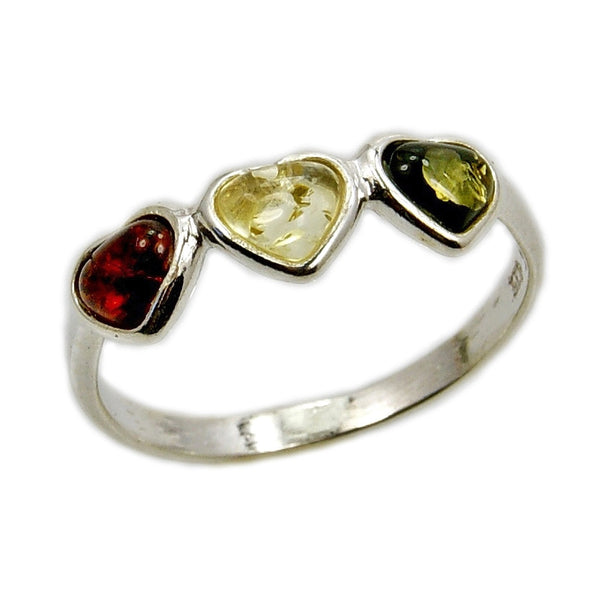 'Trio of Love' Cute Little Hearts Sterling Silver Baltic Amber Ring - The Silver Plaza
