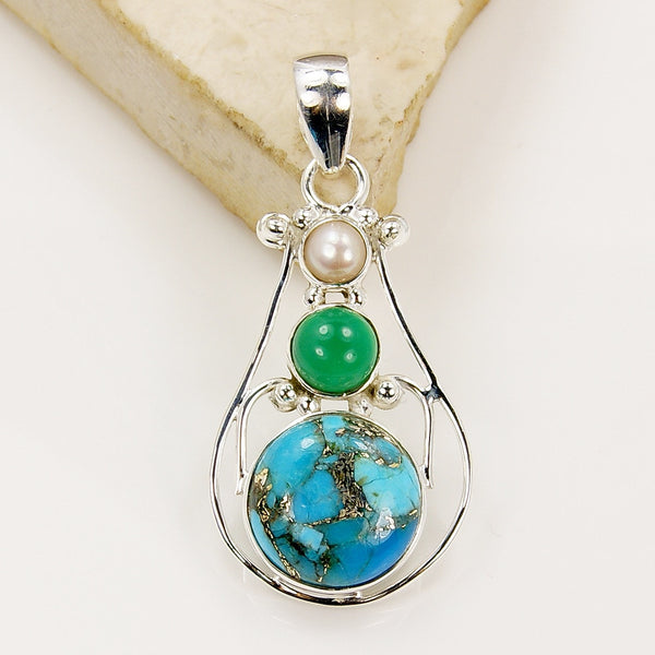 'Goddess of Sky' Blue Copper Turquoise Sterling Silver Pendant - The Silver Plaza