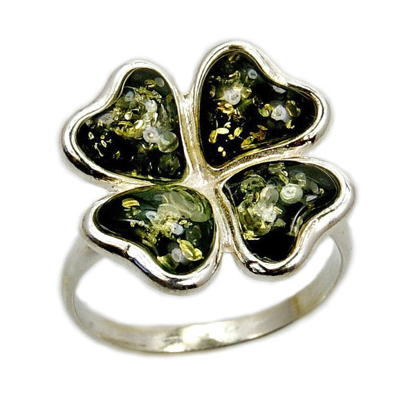 'Good Luck' Green Four Leaf Clover Sterling Silver Baltic Amber Ring - The Silver Plaza