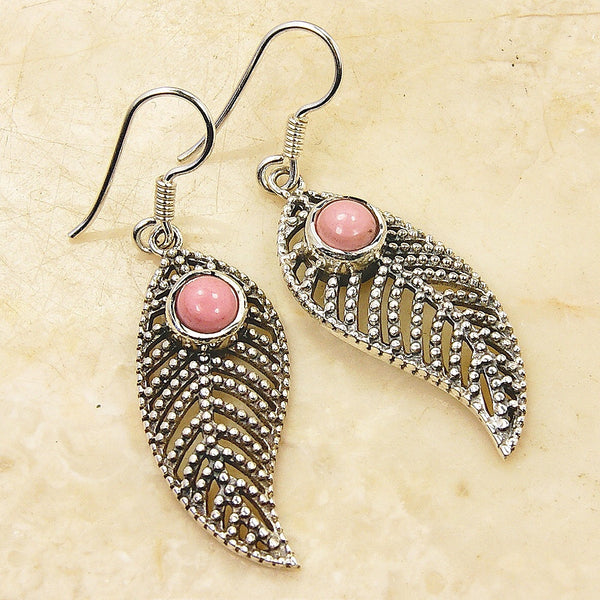 'Passionate Leaf' Sterling Silver Pink Opal Dangle Earrings - The Silver Plaza