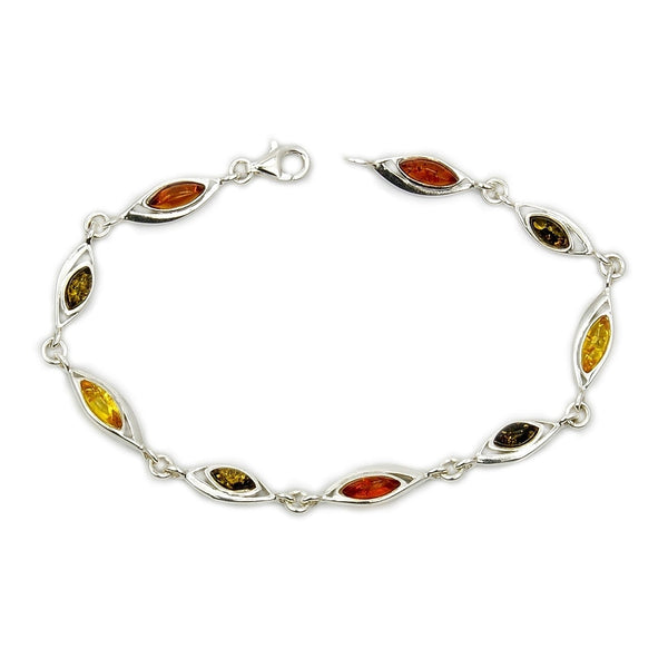 'Eye Of The Soul' Sterling Silver Natural Baltic Amber Bracelet