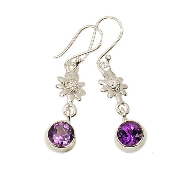 'Violet Daisy' Amethyst Sterling Silver Dangle Earrings