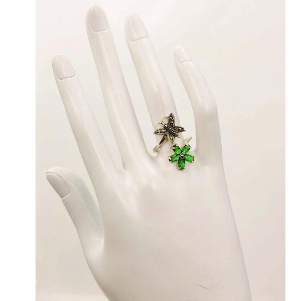 Green CZ, Marcasite Butterfly & Sterling Silver Ring Size 6 - The Silver Plaza