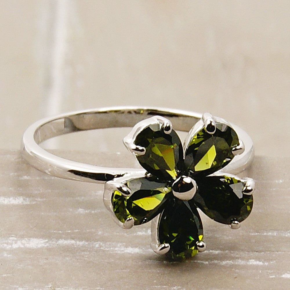 """Blossom"" Green Cubic Zirconia Flower & .925 Sterling Silver Ring Size 7.75 - The Silver Plaza"
