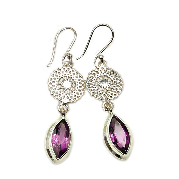'Bright Star' Amethyst Sterling Silver Dangle Earrings - The Silver Plaza
