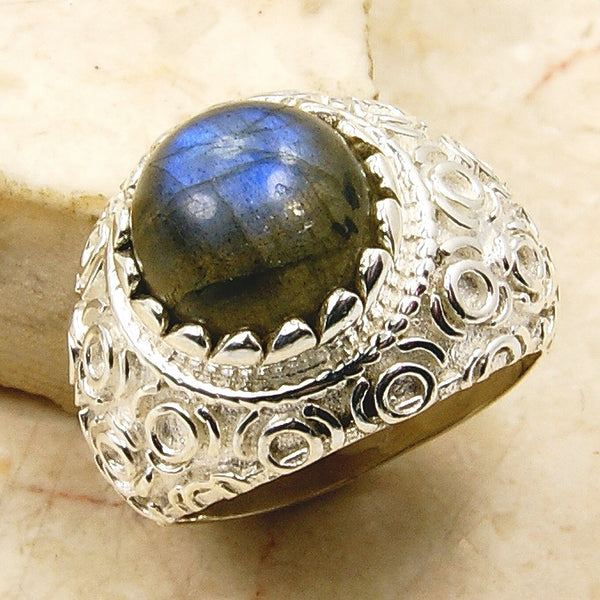 Blue Light Labradorite 925 Sterling Silver Ring Size 5.75 - The Silver Plaza