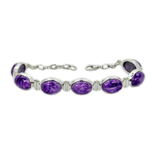 'Purple Queen' Charoite & .925 Sterling Silver Bracelet