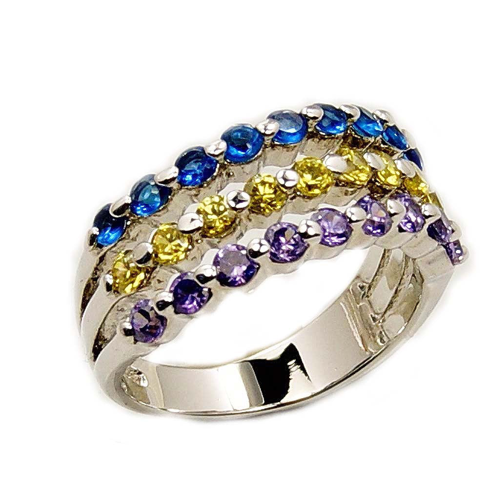 Copy of Sterling Silver Wavy Blue, Yellow, Purple Cubic Zirconia Ring, Size 5.75 - Emavera - 1
