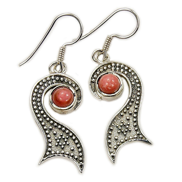 'Midnight Kiss' Sterling Silver Pink Opal Dangle Earrings - The Silver Plaza