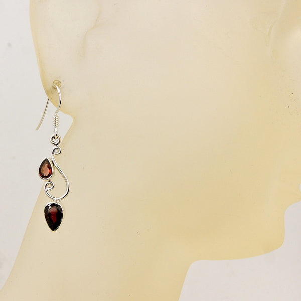 'Red Simplicity' Garnet & .925 Sterling Silver Dangle Earrings